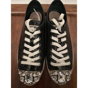 MIU MIU Crystal Cap Toe Sneakers